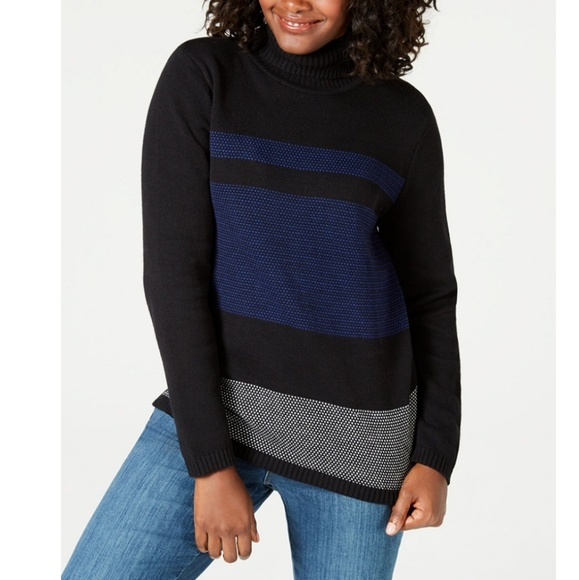 Karen Scott Sweaters - KAREN SCOTT Printed Turtleneck Sweater